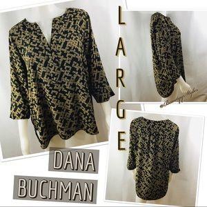 MAKE AN OFFER Dana Buchman Abstract Tan Black Top